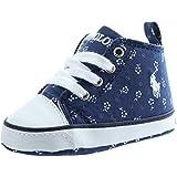 POLO RALPH LAUREN - Blauer Schuh für die Wiege mit Schnürsenkeln aus Stoff, Blumendrücke, Ledereinsätze, Baby Jungen-17