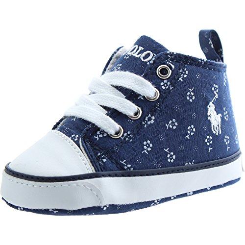 POLO RALPH LAUREN - Blauer Schuh für die Wiege mit Schnürsenkeln aus Stoff, Blumendrücke, Ledereinsätze, Baby Jungen-19