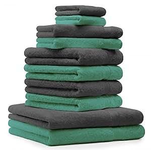10 tlg. Badetuch Duschtücher Set Handtücher Classic Premium Farbe Smaragd Grün & Anthrazit Grau 100% Baumwolle 2 Seiftücher 2 Gästetücher 4 Handtücher 2 Duschtücher