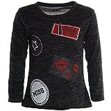 Mädchen Extra Strick Pullover Long Bluse Langarm Pullover Feinstrick Shirt 20777, Farbe:Schwarz;Größe:140