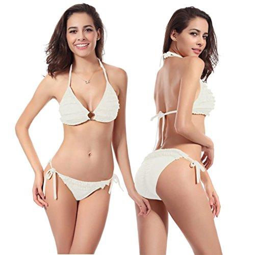 Bikini Set, MEIbax Donne bikini set increspatura costumi da bagno push-up imbottito tinta unita reggiseno costumi da bagno separati Bianco