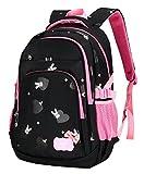 BAIJIAWEI Schulrucksack Blumen Schulranzen Schultasche Sports Daypacks Backpack Rucksack Freizeitrucksack für Mädchen Jungen Kinder Damen Herren Jugendliche-Schwarz