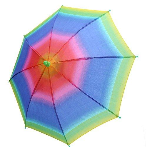 Alomejor 3 Farben Regenschirm Hut Outdoor Faltbare Sonnenschirm Cap Kopf Hüte für Männer und Frauen Multicolor Golf Angeln Camping(Regenbogen) (Hut Regenbogen Regenschirm)