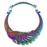 kelee Women Fashion Large Costume Jewelry Vintage Peacock Statement Necklace Chunky Collar Choker (Colourful Peacock)