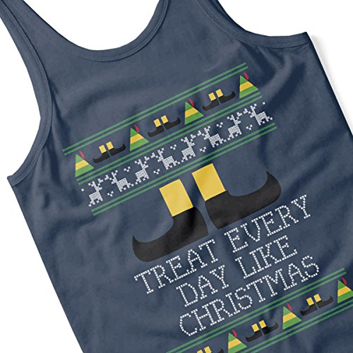 Treat Every Day Like Christmas Elf Quote Knit Women's Vest Navy blue