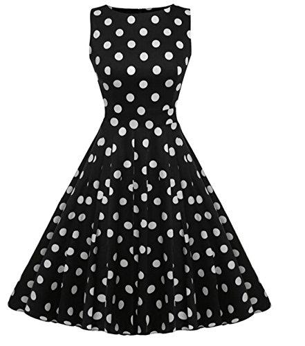 Vintage 1950 vestito da cocktail del vestito da partito picnic Floral Spring Garden Party (L, Black + White)
