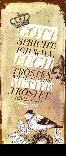 """Metallschild mit Kette """"""""Gott spricht: Ich will euch trösten"""