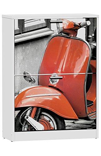 Zapatero de 2 puertas blanco 82x60cm, con serigrafia Red Vespa