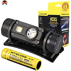NITECORE HC65 Lampe Frontale LED Rechargeable 3 LED Blanche/Rouge/High CRI Lampe Frontale Puissante 1000 lumen 8 Modes d'Eclairage ([Pile Rechargeable USB 3400mAh Incluse])
