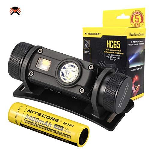 NITECORE HC65 Stirnlampe LED Wiederaufladbar - 1000 Lumen Cree IPX8 Wasserdicht Kopflampe Stirnlampe Rotlicht [ Mit 3400mAh Akku ]