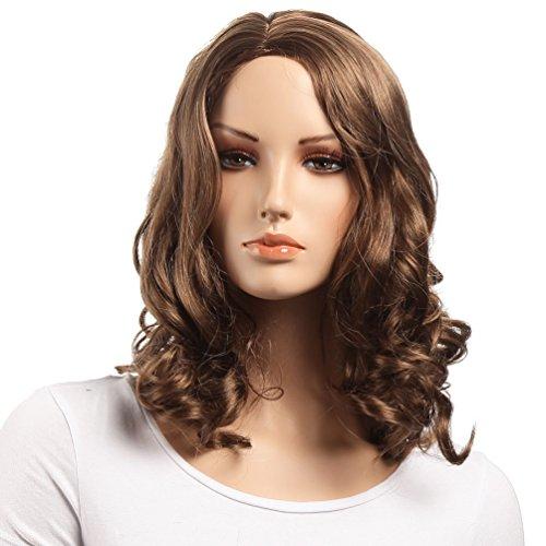 Pelucas onduladas de longitud media para el hombro, ambas para mujeres blancas y negras Peluca premium 100% sintética resistente a altas temperaturas de Kanekalon (MARRÓN CLARO)