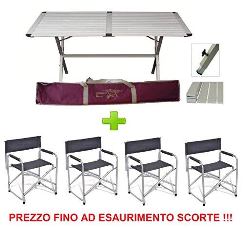 Mesa estor Genius 150x 80cm de aluminio + 4silla director plegable de aluminio con textileno gris–Ideal para porches Camper y camping