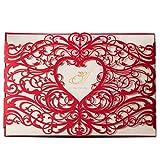 Wishmade 50X Einladungskarten Hochzeit Wishmade Rot Lasecut Spitze Herz-Design Set 50 Stücke Gratis Umschläge CW5017