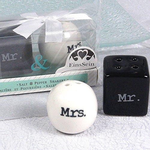 EinsSein® 1x Salz & Pfefferstreuer Mr. & Mrs. Modern Gastgeschenke Hochzeit Wedding Vintage Box kartonage Pfeffer Hochzeitsdeko