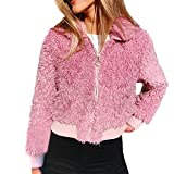 Damen stylischer Herbst Winter Revers Jacke Teddy-Fleece Mantel Plüschjacke Winterjacke Steppjacke Warmen Outwear Strickjacke Lange Ärmel Einfarbig Sexy Parka Mode Kurz Coat von Innerternet