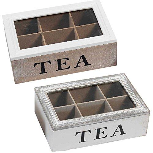 Tee Dispenser (SIDCO Teebox Teekiste Holz Teekasten Teebeutel Box Teebeutelbox Vintage Sichtdeckel)