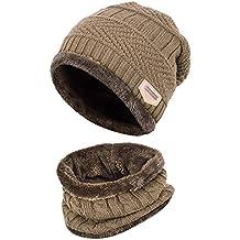 0c9d1222d7d2a0 Aruny Wintermütze Hut Mütze Loop-Schal Sets Für Männer & Frauen gestrickt  Strickmütze