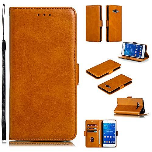 Scheam Custodia Samsung Galaxy J2 Prime G530 G532J2 Ace Grand Prime Plus, Premium Pelle Cover Custodie a Libro Flip Caso per Samsung Galaxy J2 Prime G530 G532J2 Ace Grand Prime Plus Giallo