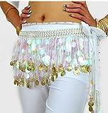 BellyRose multi-Row Paillettes monedas de oro papel de envolver y cadera danza del vientre bufanda, Lively estilo, unisex, blanco