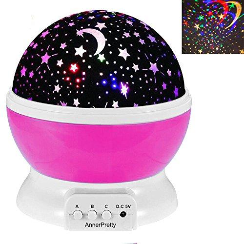 Lámpara de iluminación nocturna Romántico Proyector Rotativo Estrella Lunar Cambio de color El mejor regalo para niños Niños Sala de estar del dormitorio Decoración del partido