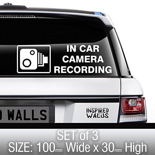 In Auto Dash Kamera Dashcam CCTV Aufzeichnung Aufkleber Schilder für Auto, Van, LKW, Truck, Taxi, Bus, Mini Cab Sicherheit (3Stück) von inspiriert Wände ®