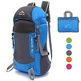 35L Ultraleicht Faltbare Wanderrucksäcke Rucksäcke, NATUCE Multi-Funktionale Stopfbare Wasserdichte Casual Camping Tagesrucksack für Outdoor-Sport Klettern Bergsteiger - Blau