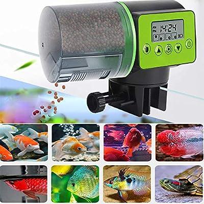 JINWENZHANG Futterautomat für Aquarium, Automatisierte Futterspender für Fische, Futterautomat für Fische, große Kapazität 200ml?digitaler Timer?LCD-Anzeige, für Aquarium, Fisch Tank