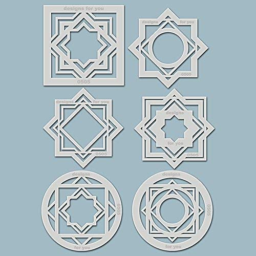 6 Schablonen - geometrische Formen, 0505, jeweils 8cm groß, Silhouetten, DIY Gestaltung -