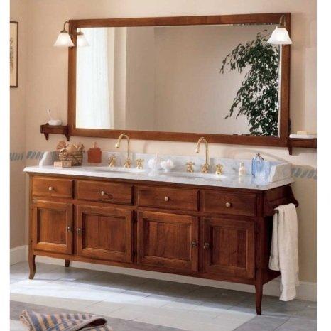 Mobile arredo bagno arte povera 186 cm noce doppio lavabo top marmo bianco