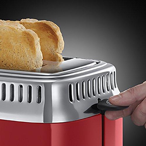 Russell Hobbs 21680-56 Retro Ribbon Red Toaster mit stylischer Countdown-Anzeige, Schnell-Toast-Technologie, 1300 W, rot - 5