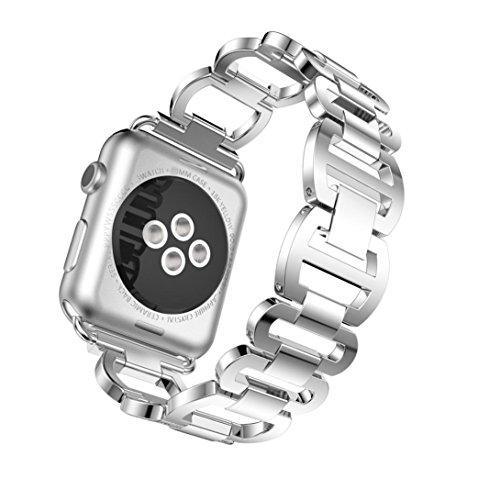 Für Apple Watch Serie 342mm, Tianya Diamanten Edelstahl Armband Armband Gurt Ersatz Smart Watch Band Armband, silber, Large Strap length:170-220mm