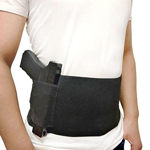 DecoDeco Belly Band verdeckte Trage, mit Magazin Pocket Taillenband Pistole, elastische Hand Pistolenhalterung für Pistolen Revolver für Männer und Frauen schwarz L (38 Revolver Bodyguard)