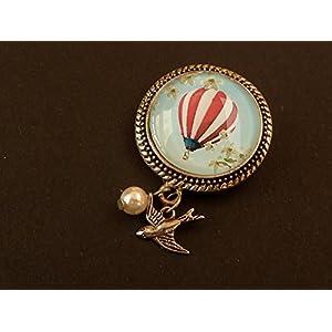 Brosche mit Ballon oder Einhorn, Kolibri, Elfe, Pilzen