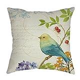 hshi Vögel und Blumen Kissenbezug, bedruckt Baumwolle Leinen Sofa Taille Überwurf Kissen Fall Warm Home decor-45cmx45cm, Schwarz, 1