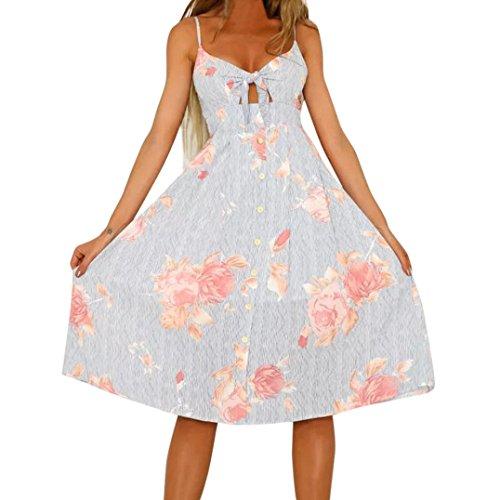 MRULIC Ladies Boho Kleid Backless Lange Kleider Summer Beach Dress Strandkleid(B-Grau,EU-38/CN-M) (T-shirt Cap Sleeve Wahl Womens)