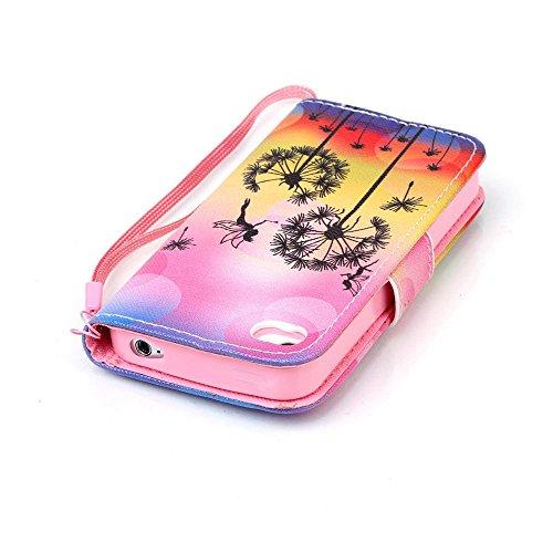 Meet de Apple iPhone 4S Bookstyle Étui Housse étui coque Case Cover smart flip cuir Case à rabat pour Apple iPhone 4S Coque de protection Portefeuille - Yeux bleus Don't touch my phone Dandelion Ange