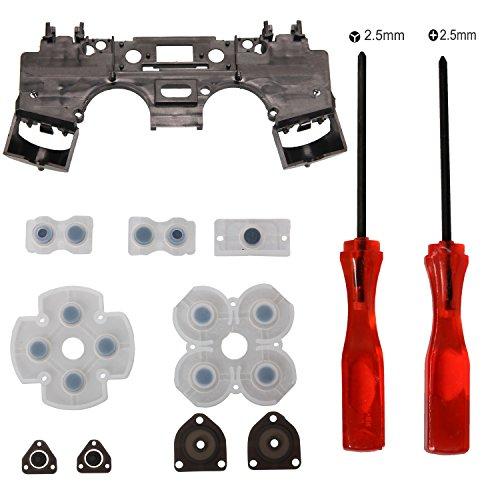 Timorn Reemplazo marco de goma conductora del cojín + Interno Interno Soporte + Tri-wing + Cruz destornillador para Playstation mando inalámbrico PS4 4(1 paquete)