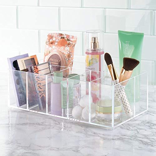 b543745f5 mDesign Organizador de maquillaje – Caja transparente con 6 compartimentos  - Ideal para guardar maquillaje, cosméticos y productos de belleza –  Plástico ...