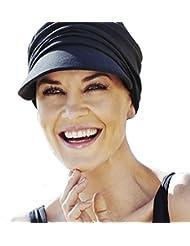 Gorra oncológica drapeada de algodón con visera y protección solar índice 50+ color negro para mujeres en tratamiento con quimioterapia