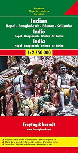 Autokarte: Indien, Nepal, Bangladesch, Bhutan, Sri Lanka (1:2.750.000)