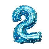 TOYMYTOY 32 pollici numero 2 palloncino decorazione compleanno anniversario jumbo foglio palloncini rifornimenti del partito foto puntelli (blu)