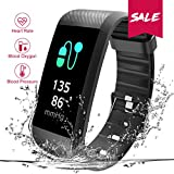 TEZER Fitness Armbanduhr Fitness Tracker Smartwatch Wasserdicht IP67 Aktivitätstracker Schrittzähler Armbanduhr Schlafanalyse Kalorienzähler SMS Aktivitätstracker Bluetooth mit IOS Android (schwarz)