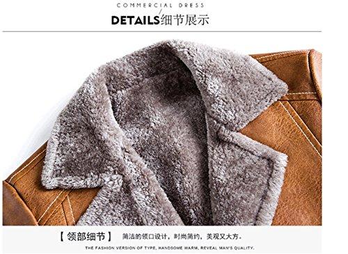 WS668 Herren Winter Mode Casual Leder Lambswool Gefüttert Warm Jacket Mäntel Grau