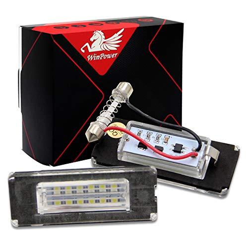 WinPower LED Kennzeichenbeleuchtung Glühbirnen Nummernschildbeleuchtung Lampe 3582 SMD mit CanBus Fehlerfrei 6000K Xenon kaltweiß für Mini R55/R56/R57/R58/R59 usw, 2 Stücke - Mini 2 Licht