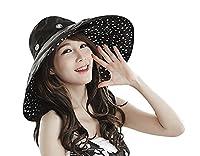 Women Hats, Fashionable Anti-UV Sun Protection Foldable 2 in 1 Summer Sun Hats Caps Headwear Outdoor Travel Beach Fishing Sun Hat Bucket Hat Topee for Women Ladies UPF 50+ Black/Dot