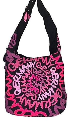 Robin Ruth Canvas Umhängetasche/Schultertasche Germany in schwarz/Neon Pink (Maße: LxHxT 38x33x12 cm)