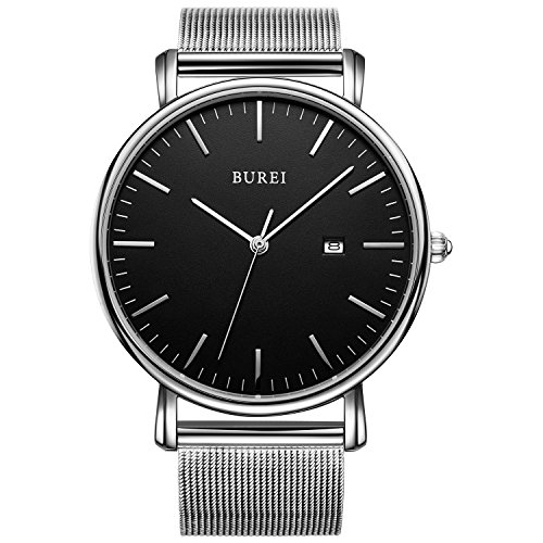 BUREI-Unisex-All-Black-Minimalist-Quartz-Wristwatch-Ultra-Thin-with-Date-and-Milanese-Mesh-Band