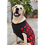 Heads Up For Tails Huft Cambridge Dog Sweater - Red & Black - XL