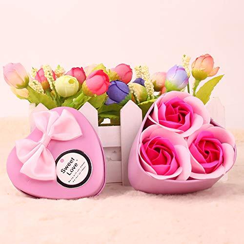 Hilai 1 Pack Flora Duftende Bad Rose Soap Blumen in Geschenk-Box Faszinierende Duft von Rosen Hübsche Form Farbverlauf Farbe Rosen-Duftseifen in Geschenk-Box (Pink) - Duftende Rose Soap