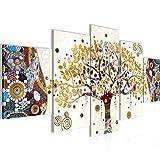 Bilder Gustav Klimt Baum des Lebens Wandbild Vlies - Leinwand Bild XXL Format Wandbilder Wohnzimmer Wohnung Deko Kunstdrucke Gelb 5 Teilig MADE IN GERMANY Fertig zum Aufhängen 004653a